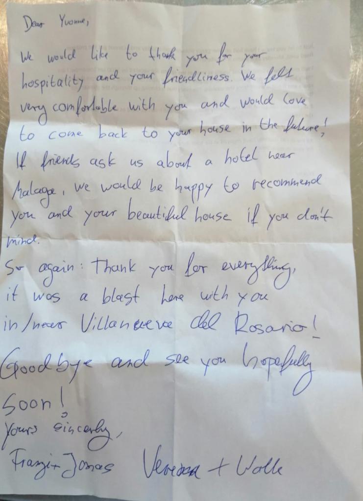 Notes from guests at Cortijo Sabila